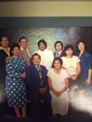 From right to left: Carmen Leonor Moreira Lopez, Lilia Lopez, Jorge Medina, Maria Martina Media, Alfredo Medina, Luis Medina, Gonzalez Medina, Marlene Moreira Lopez, Carmen Moreira