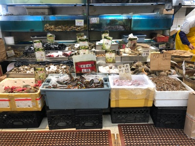 Live seafood at the Chinese supermarket.