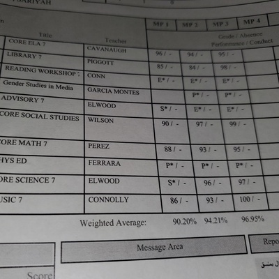 Report Card from 7th Grade