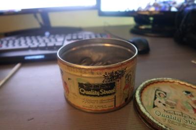 The Quality Street tin.