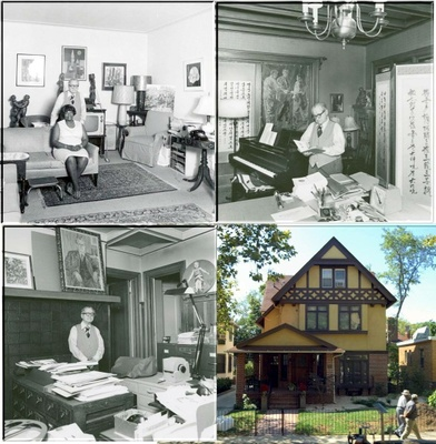 Four images of Dr. Leslie, Hester, and their house.