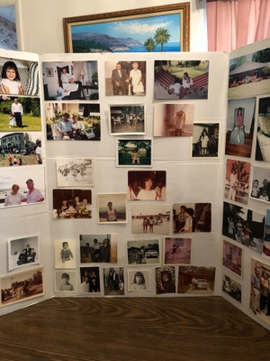 A collage of old family photos put together by the children of José and Argentina for their 53rd wedding anniversary.