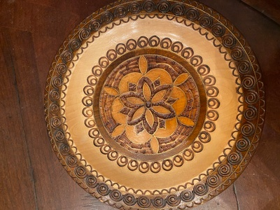 Hand carved wooden plate