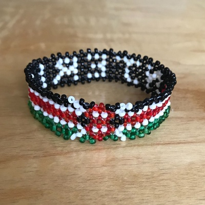 Bracelet made of multicolored beads.