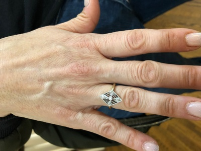 My mother wearing her mothers ring