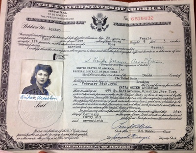 When my grandmother became a naturalized citizen of the US in 1946