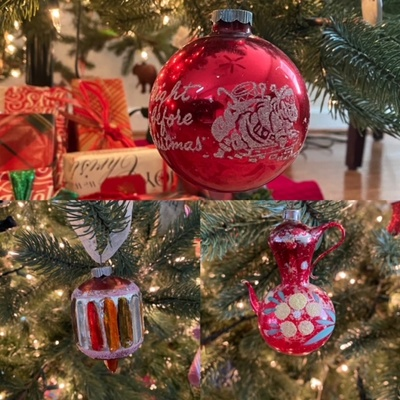 the Christmas ornaments