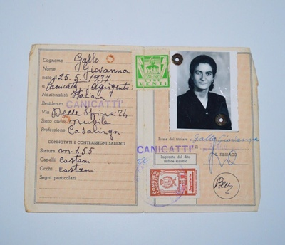 Her Italian identification card.