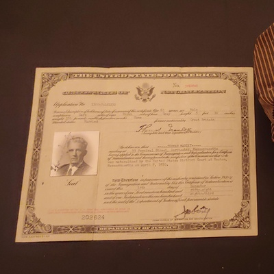 This is my great grandfathers naturalization certificate
