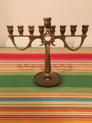 A brass menorah